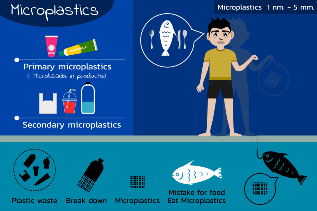 Ocean microplastics pollution cycle