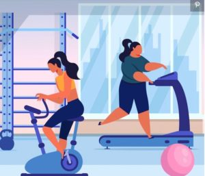 Illustration of two females exercising in a gym